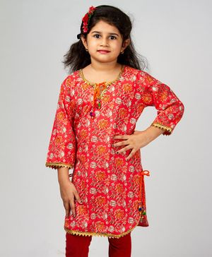 Pikaboo Floral Print Gota Patti Three Fourth Sleeves Kurti - Coral