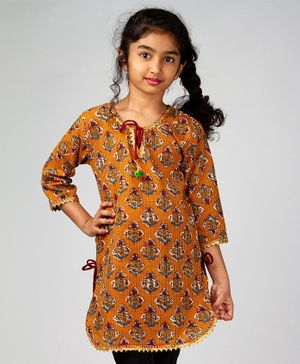 Pikaboo Kantha Work Gota Patti Three Fourth Sleeves Kurti - Yellow