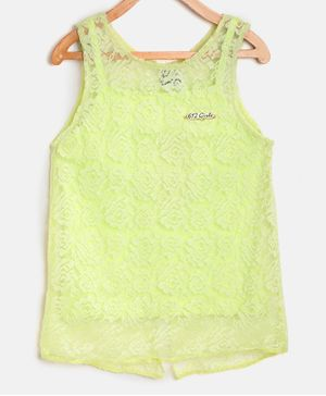 612 League Sleeveless Flower Lace Detailed Top - Lime Green