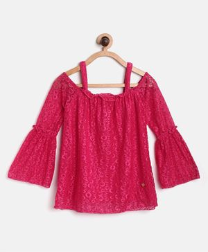 612 League Full Sleeves Lace Work Cold Shoulder Top - Pink