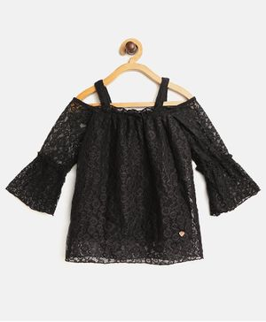 612 League Full Sleeves Lace Work Top - Black