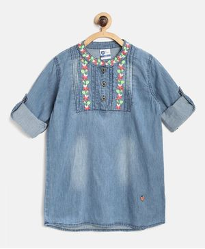 612 League Full Sleeves Floral Work Tunic - Blue