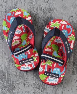 Cute Walk by Babyhug Flip Flops with Back Strap Dino Print - Red