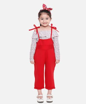 Aww Hunnie Full Sleeves Off Shoulder Flower Print Top With Dungaree - Red
