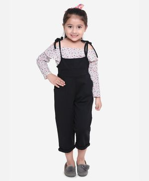 Aww Hunnie Full Sleeves Off Shoulder Flower Print Top With Dungaree - Black