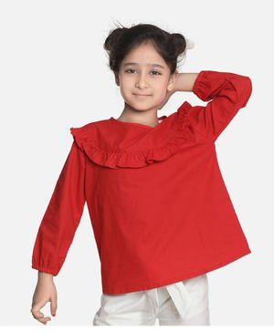 Aww Hunnie Full Sleeves Ruffle Detailed Solid Top - Red