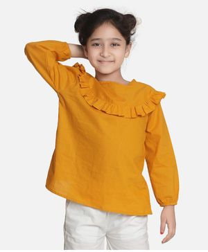 Aww Hunnie Full Sleeves Ruffle Detailed Solid Top - Yellow
