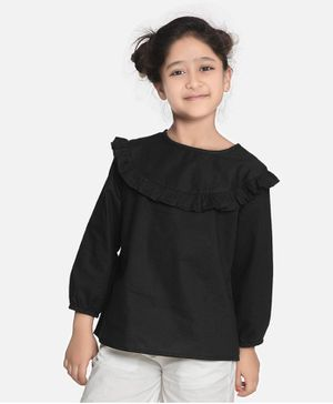 Aww Hunnie Full Sleeves Ruffle Detailed Solid Top - Black