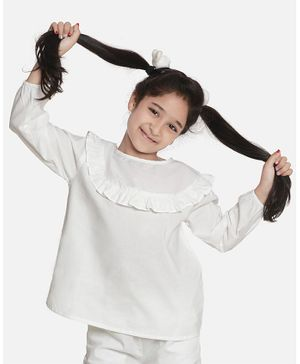 Aww Hunnie Full Sleeves Ruffle Detailed Solid Top - White