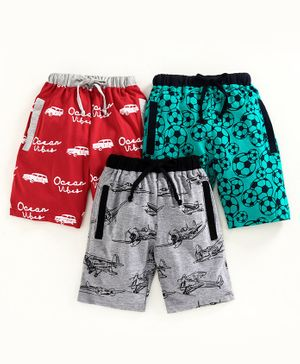 Nottie Planet Foot Ball Print Pack Of 3 Shorts - Multi Color
