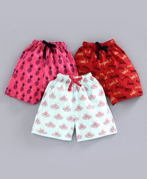 Nottie Planet Butterfly & Pineapple Print Pack Of 3 Shorts - Multi Color