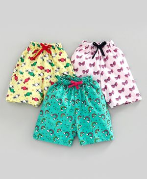Nottie Planet Bow & Rainbow Print Pack Of 3 Shorts - Multi Color