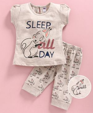 Nottie Planet Cap Sleeves Sleep All Day Printed Night Suit - Beige