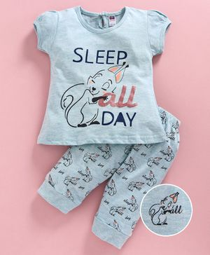 Nottie Planet Cap Sleeves Sleep All Day Printed Night Suit - Blue