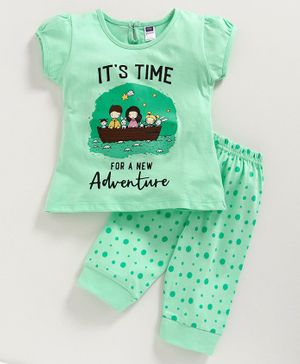 Nottie Planet Short Sleeves It's Time For A New Adventure Printed Night Suit - Green