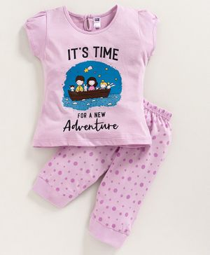 Nottie Planet Short Sleeves It's Time For A New Adventure Printed Night Suit - Pink