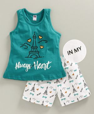 Nottie Planet Sleeveless Always Heart Printed Night Suit - Green