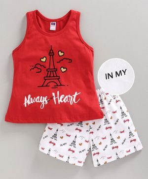 Nottie Planet Sleeveless Always Heart Printed Night Suit - Red