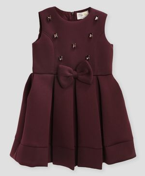 Cherry Crumble By Nitt Hyman By Nitt Hyman Stud Detailing Sleeveless Box Pleated Dress - Maroon