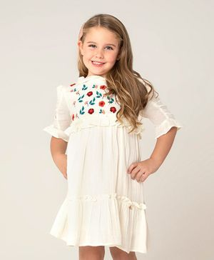 Cherry Crumble By Nitt Hyman Three Fourth Sleeves Flower Embroidery Detailing Dress - Off White