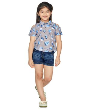 TINY BABY Short Sleeves Flower Print Top With Shorts - Grey Blue