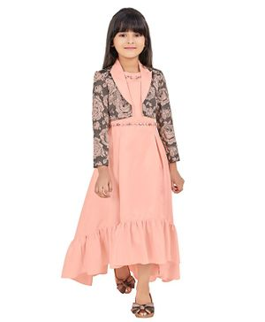 TINY BABY Sleeveless Flower Work Dress With Collared Shrug - Peach