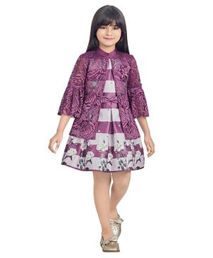 TINY BABY Sleeveless Floral Dress With Collared Shrug - Purple