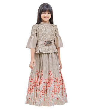 TINY BABY Three Fourth Sleeves Floral Lace Gown - Beige
