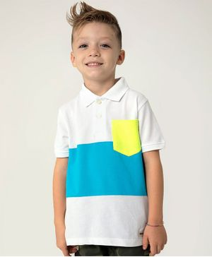 Cherry Crumble California Half Sleeves Color Block T-Shirt With Pocket - White & Blue