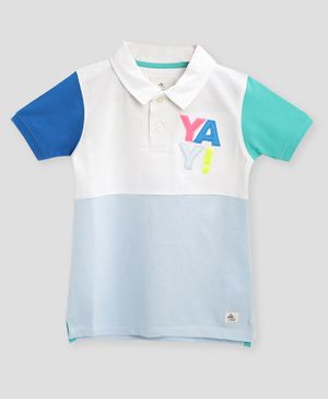 Cherry Crumble California Half Sleeves Yay Patch Work Polo T-Shirt - Multicolor