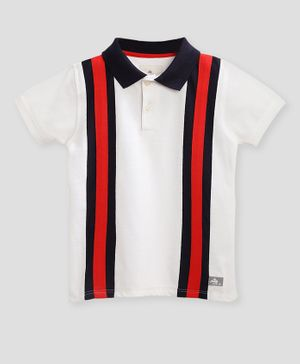 Cherry Crumble California Half Sleeves Vertical Stripe Polo T-Shirt - White & Red