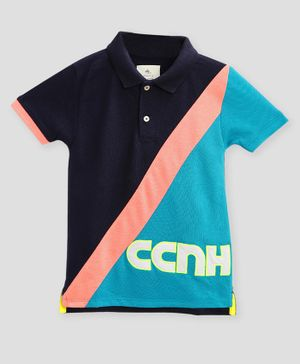 Cherry Crumble California Half Sleeves Color Block  Polo T-Shirt - Multicolor