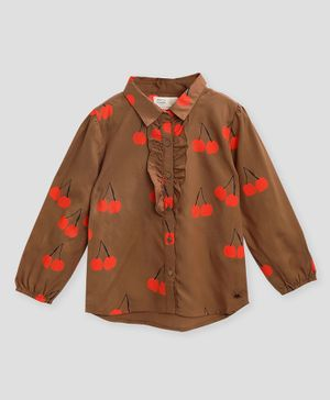 Cherry Crumble By Nitt Hyman Full Sleeves Cherry Print Ruffled Top - Brown