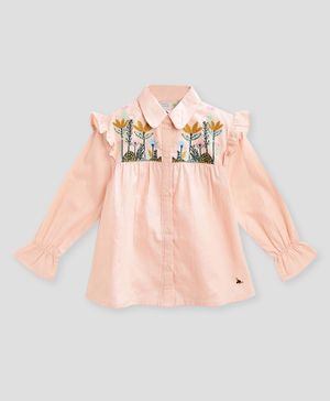 Cherry Crumble California Full Sleeves Flower Embroidery Cotton Top - Peach