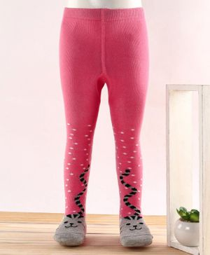 Cutewalk by Babyhug Anti Bacterial Tights Cat Design - Pink
