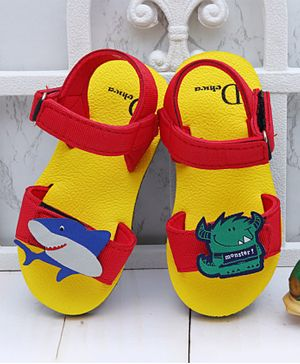 D'chica Bro Shark & Monster Applique Sandals - Red & Yellow
