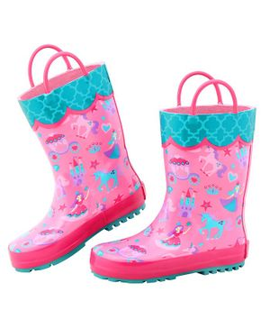 Stephen Joseph All Over Princess Print Ankle Length Rain Boots - Pink