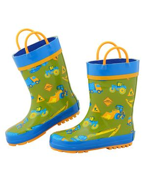 Stephen Joseph All Over Construction Theme Ankle Length Rain Boots - Green