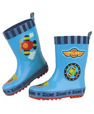 Stephen Joseph Airplane Patch Detailing Ankle Length Rain Boots - Blue