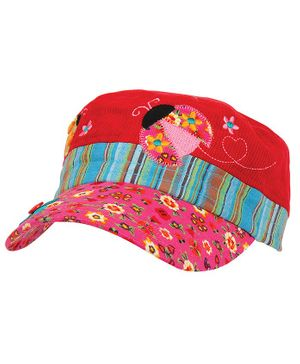 Stephen Joseph Ladybug Embroidery Detailing Cap - Red