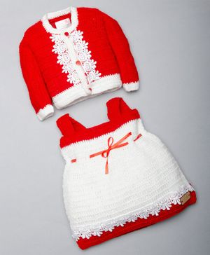 The Original Knit Full Sleeves Lace Detailing Sweater With Dress - Red & White