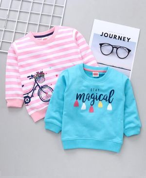 Babyhug Full Sleeves Striped Sweatshirt Text Print Pack of 2 - Pink Blue