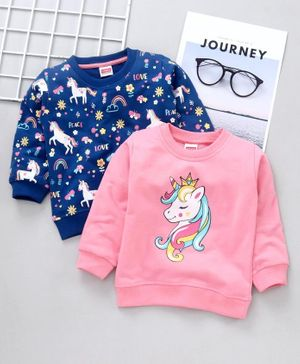 Babyhug Full Sleeves Sweatshirt Unicorn Print Pack of 2 - Pink Blue