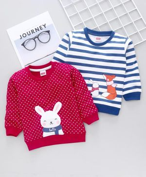Babyhug Full Sleeves Sweatshirt Bunny Print Pack of 2 - Pink Blue