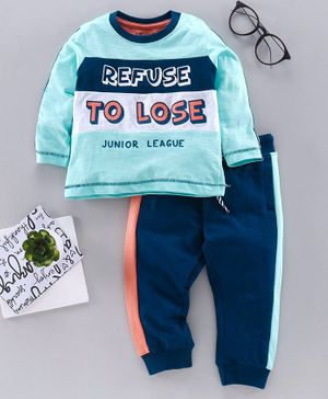 Babyoye Cotton Full Sleeves Tee & Track Pant Text Print - Blue