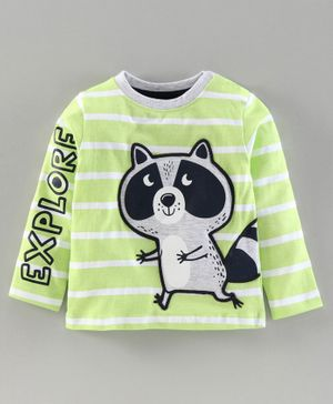 Babyoye Cotton Full Sleeves Stripe Tee Koala Embroidery - Light Green