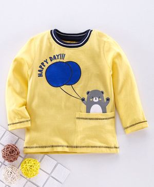 Babyoye Cotton Full Sleeves Tee Bear Print - Yellow