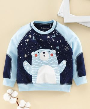 Babyoye Cotton Raglan Sleeves Tee Bear Print - Blue