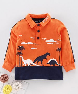 Babyoye Cotton Full Sleeves Tee Dino Print - Orange