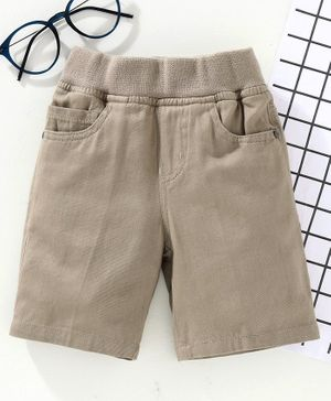 Jash Kids Knee Length Solid Color Shorts - Light Brown